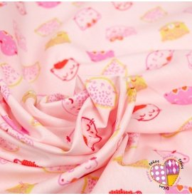 Popelin Chic Cats Pink
